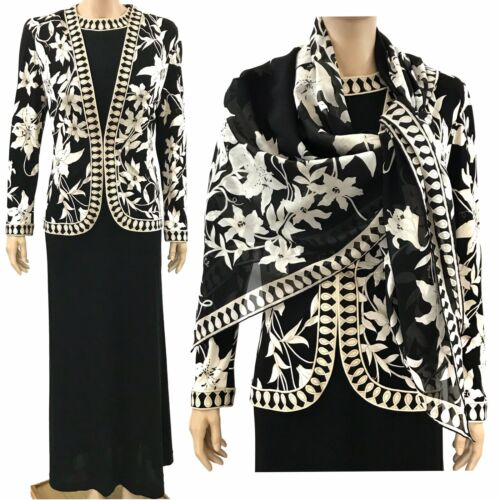 Averardo Bessi Black White Flowers Dress and Jacke