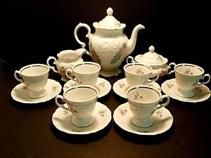 Wawel-China-Demitasse-Set-Poland-Coffee-Pot-Creamer-Sugar-Bowl-Cups-amp-Saucers