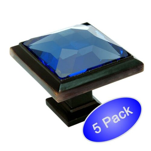 *5 Pack* Cosmas 5883ORB-BL Oil Rubbed Bronze /& Blue Glass Square Cabinet Knob
