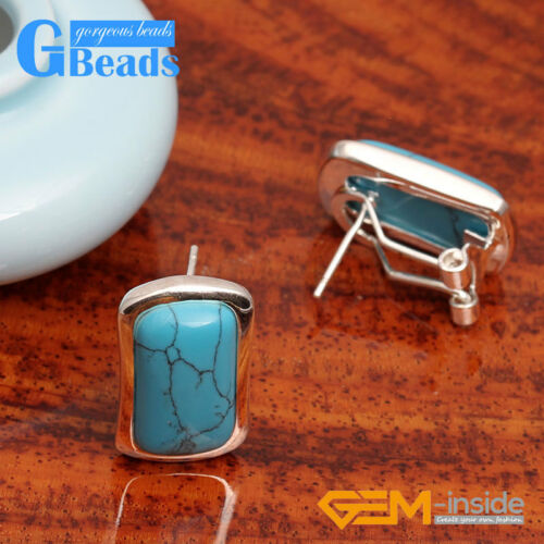 Fashion Girls 14x22mm Rectangle Beads Low Silver Stud Earrings Fashion Jewelery