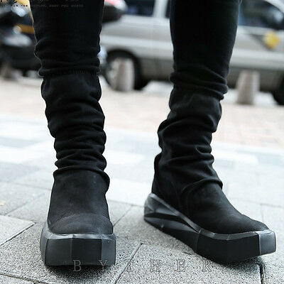 ByTheR Unique Urban Street Chic Sculpture Mid Sole Mono Tone Sneakers Boots