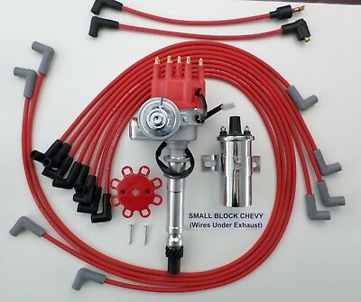 RED SMALL BLOCK CHEVY Small HEI Distributor+Chrome Coil+PLUG WIRES under  exhaust | eBayeBay