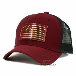 USA-American-Flag-hat-Pique-Snapback-hat-Tactical-Mesh-Baseball-cap-Burgundy