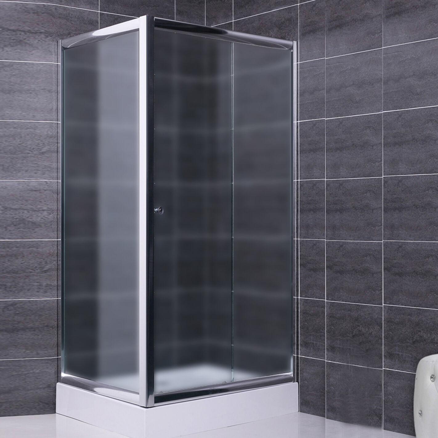 Box doccia 80x100 parete fissa e porta scorrevole in cristallo 6 mm vetro opaco