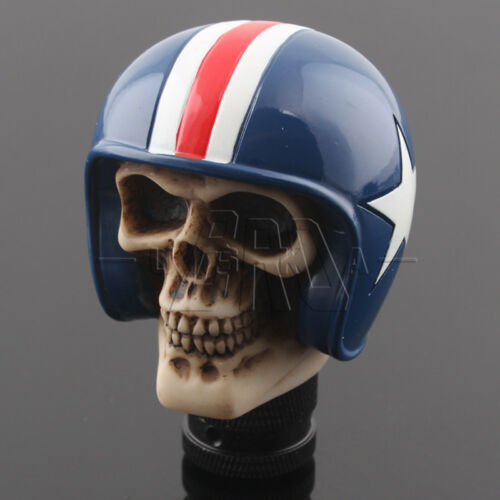 Car Truck Blue Helmet Rider Skull Resin Model Gear Stick Shift Knob Shifter Kits
