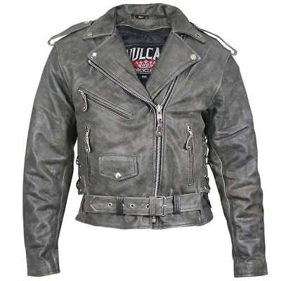 e557b02a1 Vulcan NF-2003 Distressed-Leather Womens Belted Motorcycle Jacket   eBay