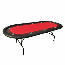 """IDS 96"""" Light Series Folding Legs Poker Table Red with Casino Dice Free"""