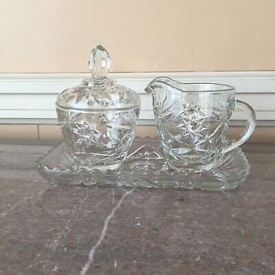 ANCHOR HOCKING GLASS EAPC PINEAPPLE FAN AND STAR PATTERN Covered SUGAR BOWL LID