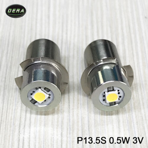 Polarity-Free 0.5W 1W P13.5S Led Flashlight Replacement bulb 3V-15V work Light