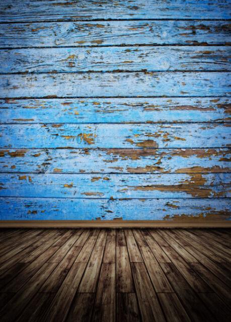 Vinyl Vintage Blue Wood Floor Photo Backdrop Photography Background 5x7ft F203