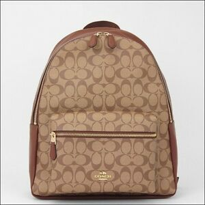 d8e80fb5abe3 ... canada image is loading coach f58314 ime74 charles signature khaki saddle  backpack 194a3 73977