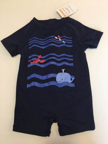 NWT Baby Boy Gymboree LITTLE SPLASH Swimsuit 0 3 Months NAUTICAL COASTAL UPF 50
