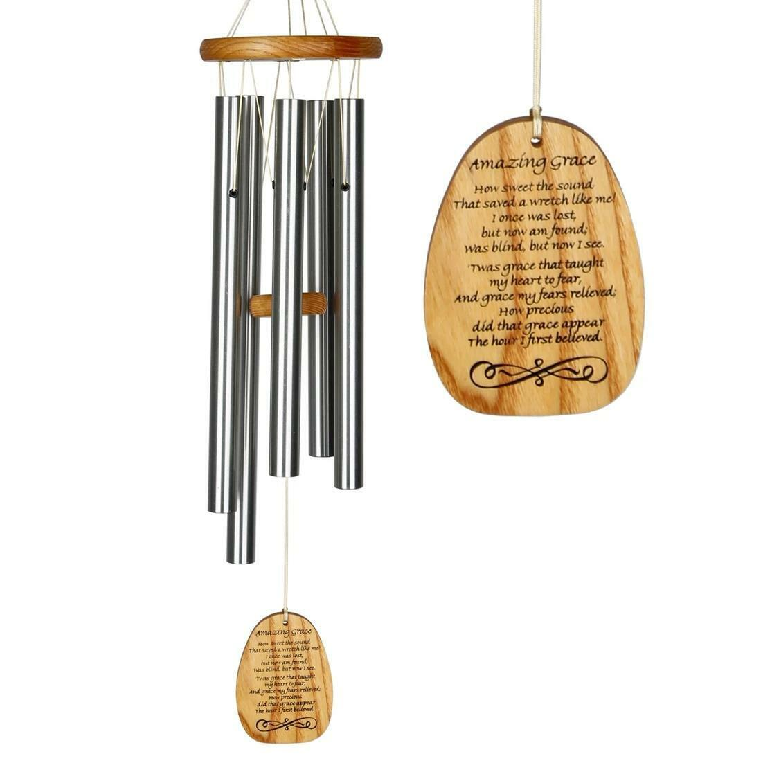 Woodstock Chimes Reflections Amazing Grace Hanging Silver Metal Tube 25