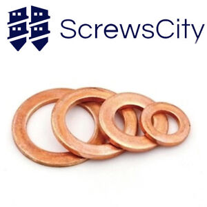 Metric-Copper-Sealing-Washers-Flat-Gasket-Rings-Form-A-DIN-7603-A-All-Sizes