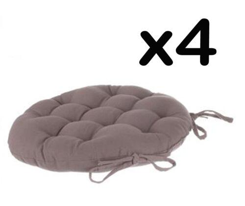 Lot de 4 galettes de chaise ronde en coton coloris taupe- Diamètre 40 cm