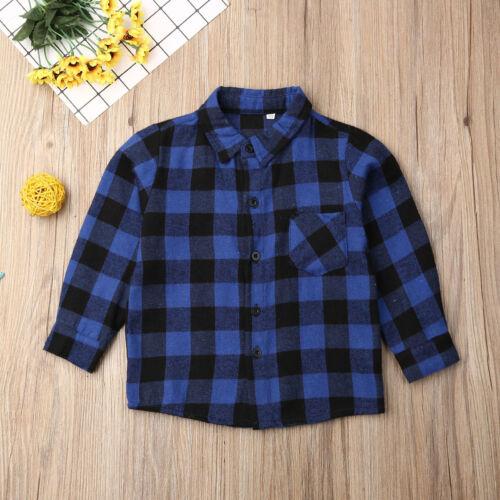 UK Toddler Baby Girl Boy Clothes Plaid Top Shirt Coat Jacket Outwear