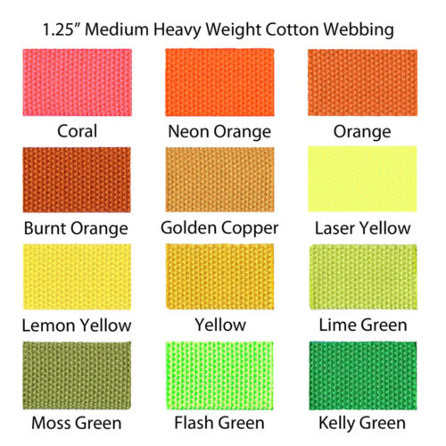 "1 Yard Coral 1.25/"" Medium Heavy Weight Cotton Webbing"