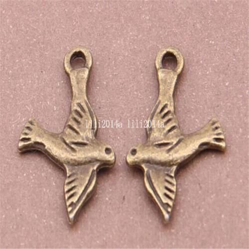 30pc Antique Bronze Charms dove Pendant Bead Accessories wholesale  PL456