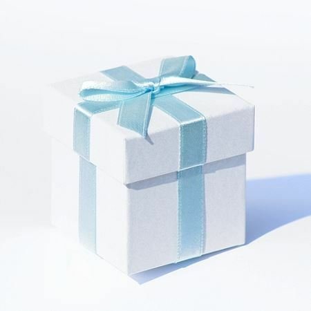 White Pearlised Box With Baby Blue Ribbon And Tissue Paper