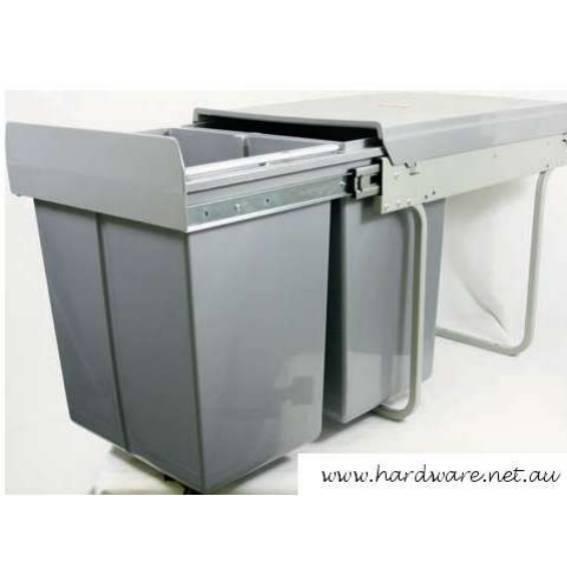 Kitchen Dual Bin. 40Lt  2 x 20 Lt Bins. Pull Out. Grey. (KAWB40G)