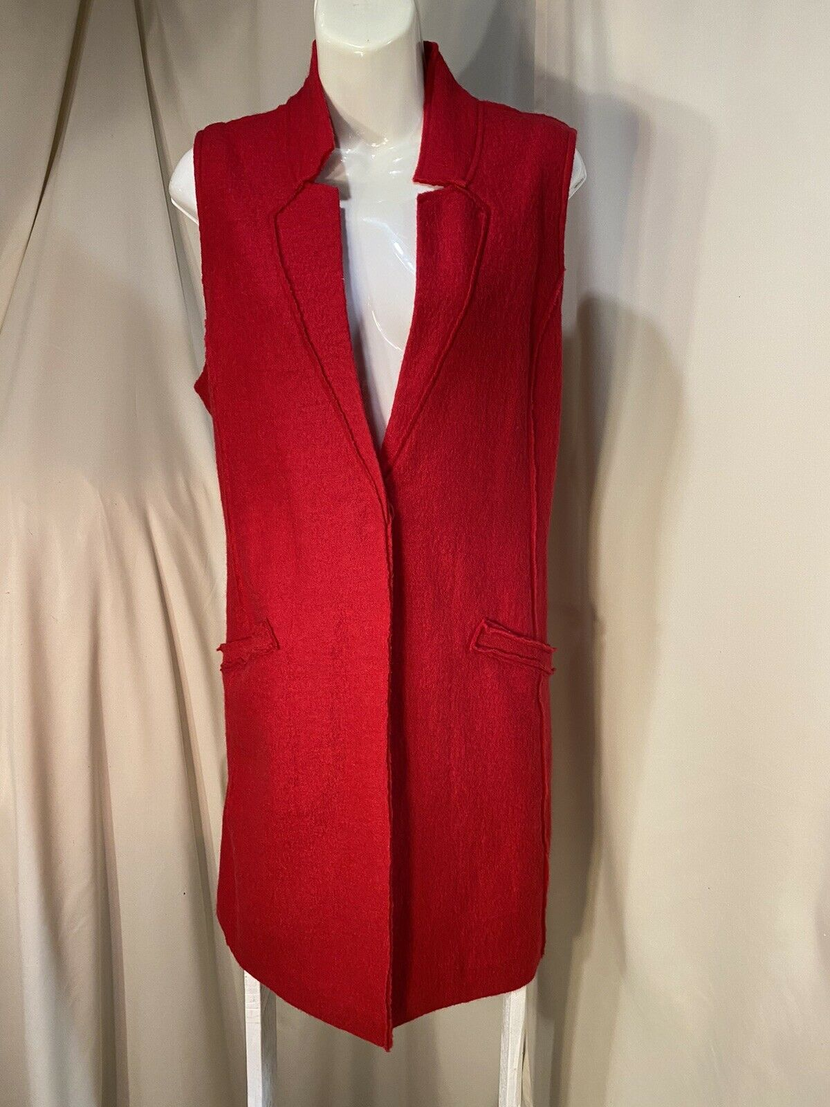 Chico Red Wool Duster Length Vest