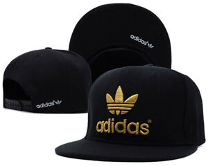 0754a9bec65f2 Image is loading Embroidered-Adidas-Trefoil-Snapback-Flat-Cap-Black-Gold-