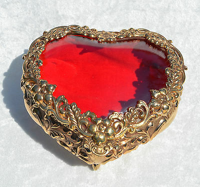 Vintage Heart Shape Gold Tone Jewelry Trinket Box Red Velvet Lined Footed Ornate