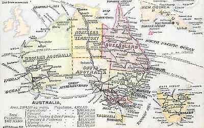 Detailed Map Of Australia.Australia New Guinea Tasmania So Pacific Ocean Detailed Map Circa 1910 P C Ebay