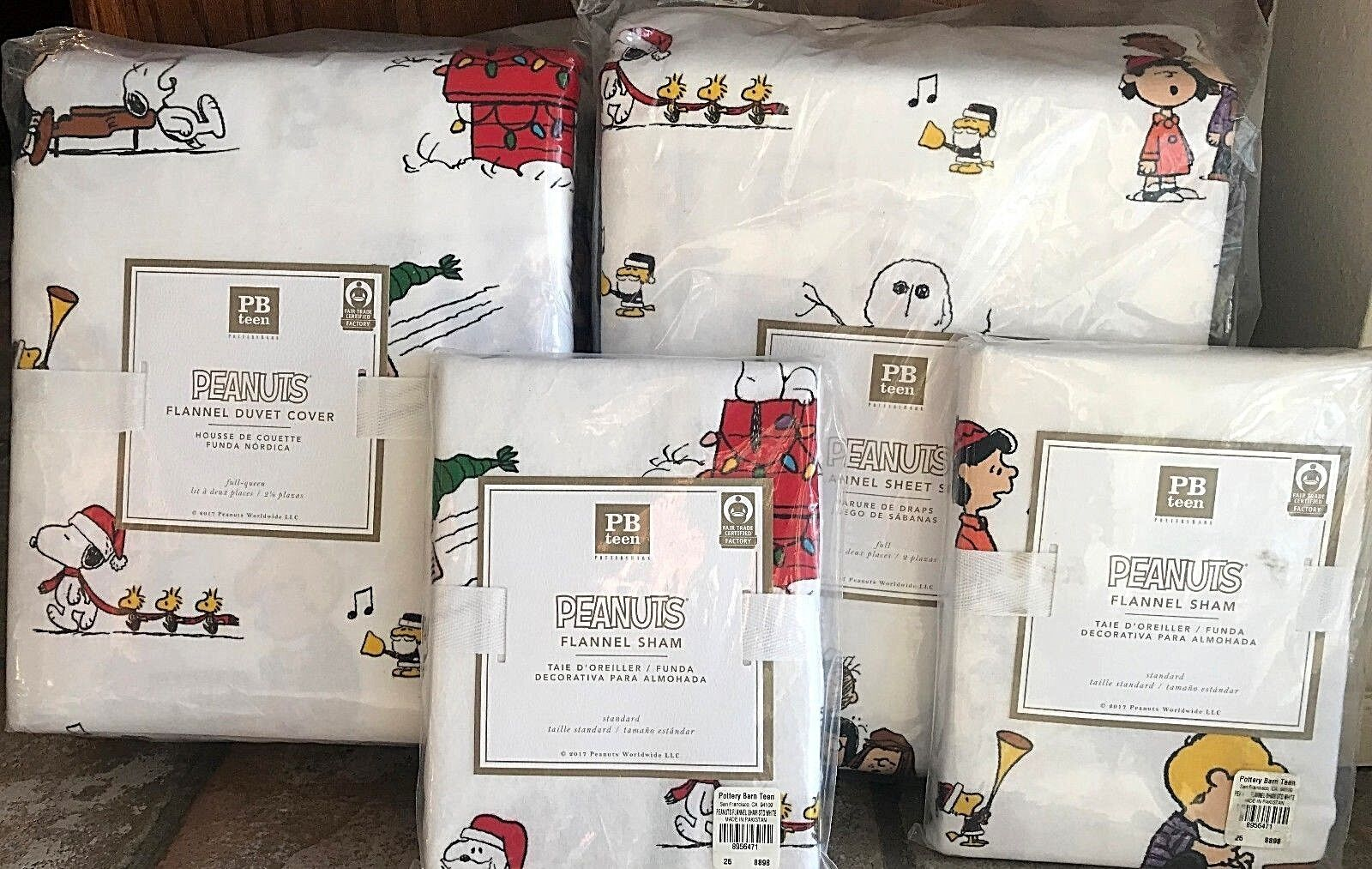 Pottery Barn Teen Peanuts Flannel FULL duvet 2 std shams SHEET set Charlie braun
