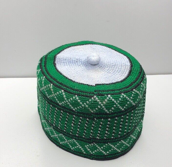 NIGERIAN / AFRICAN HAUSA TRADITIONAL COTTON HAND WOVEN FILA HAT CAP 22 inches