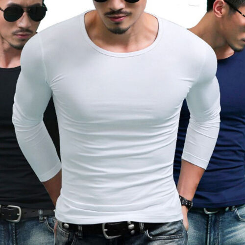 Men/'s Slim Fit Long Sleeve T-shirts Casual Tee Shirt Tops Pullover Solid Color