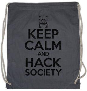 Details about Keep Calm And Hack Society Drawstring Bag Mr  Geek Nerd Robot  Hacker Fun Admin