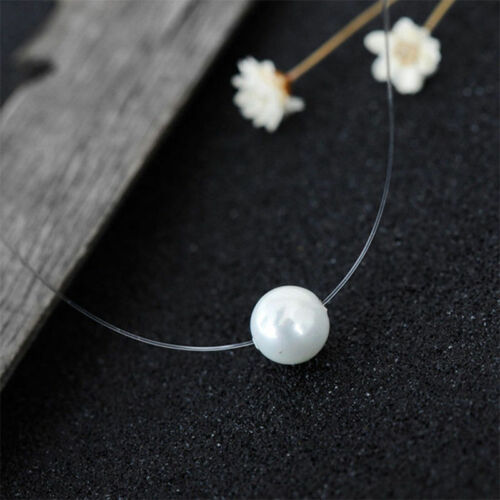 Vogue Women Transparent Fishing Line Pearl Clavicle Pendant Necklace Jewelry