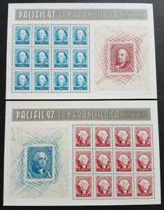 USA-1997-Pacific-97-San-Francisco-Stamp-Exhibition-Franklin-amp-Washington-2-panes