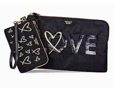 Victoria's Secret Black Love 2 PC Clutch Makeup Cosmetics Bag Duo Set B743