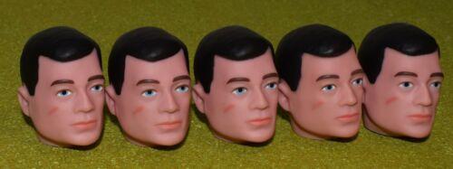 Vintage Action Man 40th remplacement tête peinte cheveux NOIR X 5