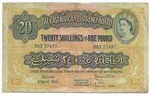 British-East-Africa-20-Shillings-1954-P35-Queen-Elizabeth-VF-Nairobi-Rare-Date