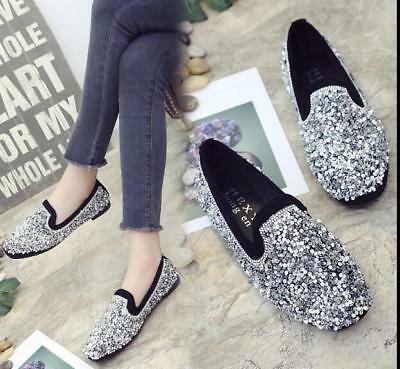 Womens Slip On Glitter Boat Sandal Casual Solid Ballet Flat Comfort Office Shoes