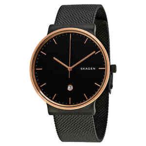Skagen-Ancher-Black-Dial-Black-PVD-Mesh-Men-039-s-Watch-SKW6296