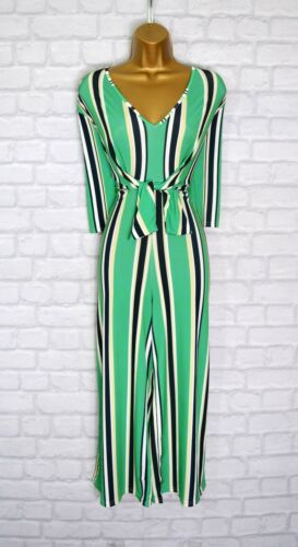 ~PIXI~ Green Stripe Plunging V Neck Evening Summer Party Jumpsuit Size 6 8 10 12