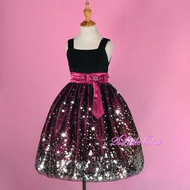 Sequined Flower Girl Dress Wedding Pageant Party Occasion Prom Purple 6-14 FG247