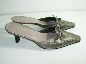 WOMENS-BRONZE-LEATHER-MULES-CAREER-CLOGS-HIGH-HEELS-COMFORT-SHOES-SIZE-7-M
