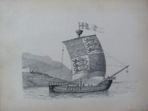 1936 Sailing Barco Estampado ~ Un 14th Siglo Barco