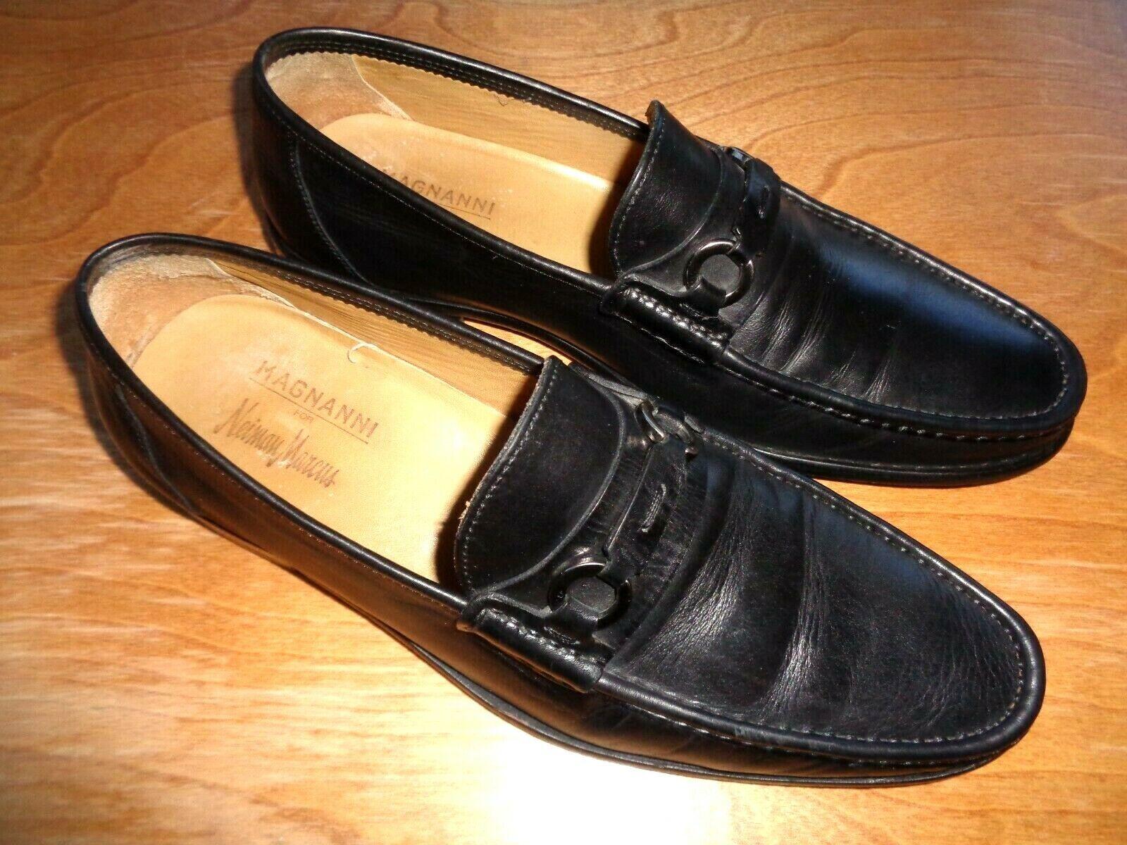 Magnanni, Nieman Marcus Leather Loafers shoes  Men's Sz 8 1 2 Medium- Black