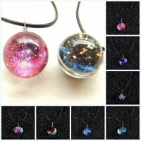 Short PU Alloy Glass Ball Necklace Glow In The Dark Stars Galaxy Pendant