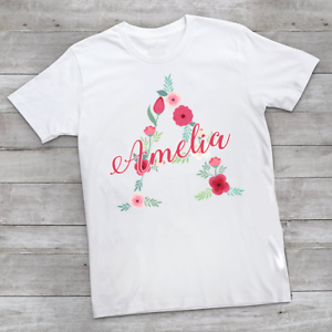 Personalised Flower Name /& Initial Children/'s Kids T Shirts T-Shirt Top Summer