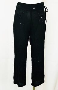 Cool-Change-Cropped-Capri-Pants-Black-Embroidered-Sequins-size-Small