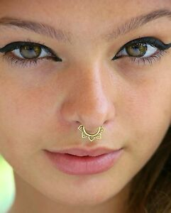 Details About Tribal Septum Brass Fake For Non Pierced Nose Ring Piercing Jewelry Fake Clip On