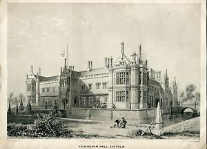 Helmingham-Hall-Suffolk-Lithography-By-J-D-Harding