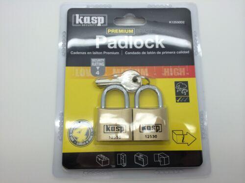 K12530d2 Kasp 125 Series Premium Brass cadenas 30mm Twin Pack-Verrou de sécurité